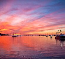 Painted Skies over Port Jefferson Harbor Long Island NY by Jay Morena