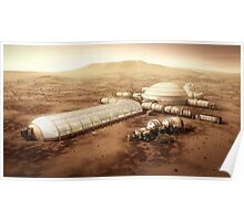 Mars Settlement With Farm Poster