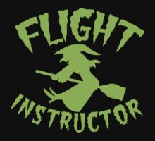FLIGHT INSTRUCTOR with cute flying witch on a broomstick by jazzydevil