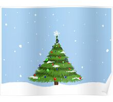 Christmas Tree with Snow Poster