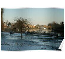 Twickenham Riverside in Frost Poster
