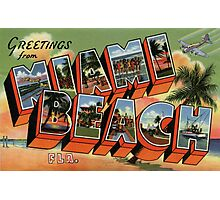 Fifties style Greetings from Miami Beach Photographic Print