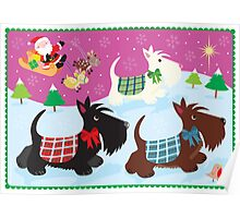 We Three Scottie Dogs Poster