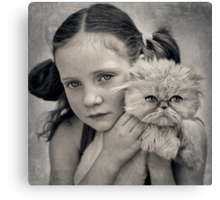 A Girl and her Cat Canvas Print