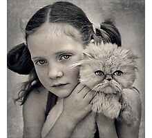 A Girl and her Cat Photographic Print