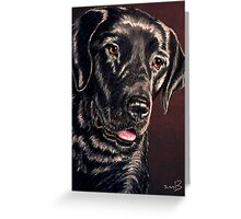 """""""Signature Grin"""" Portrait Of A Black Lab Greeting Card"""