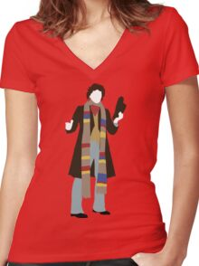 The Fourth Doctor - Doctor Who - Tom Baker Women's Fitted V-Neck T-Shirt