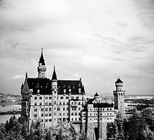Neuschwanstein Castle in Infrared (Black & White) by Kaitlin Kelly