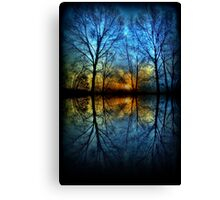 Sunset Reflection abstract trees reflected blue yellow orange Canvas Print