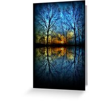 Sunset Reflection abstract trees reflected blue yellow orange Greeting Card