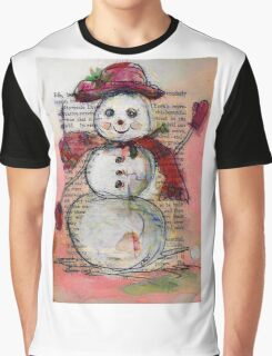 Snowman with Red Hat and Scarf Graphic T-Shirt