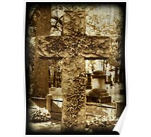 Vine on Cross Sculpture gothic cemetery photography Poster