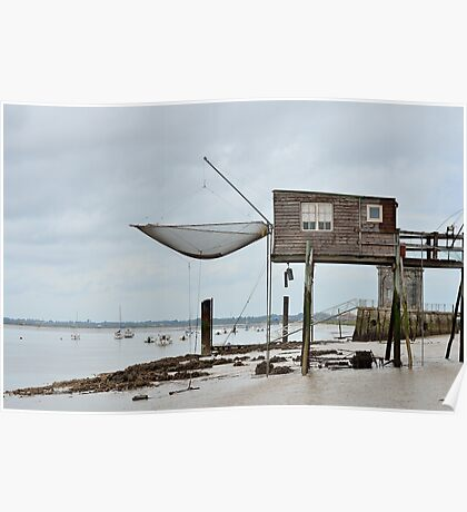Carrelets in Port des Barques, Charente Maritime, France, atlantic coast Poster