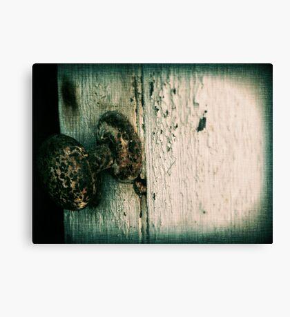 Vintage Door Knob rusted rustic white door Canvas Print