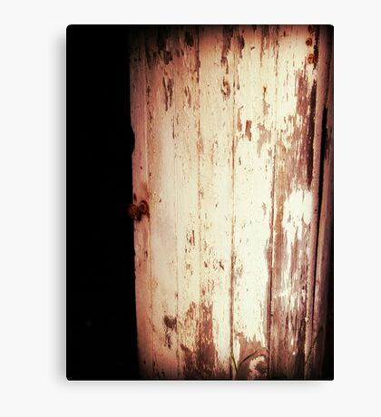 Vintage Door rustic old barn door with rusty door knob Canvas Print