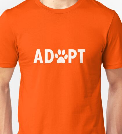 Adopt. Dog Paw Print Unisex T-Shirt