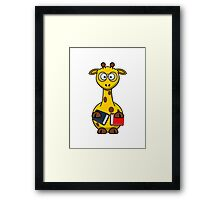 Book Worm Giraffe Cartoon Framed Print