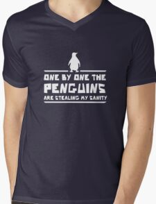 One by One Penguins are Stealing my Sanity Mens V-Neck T-Shirt