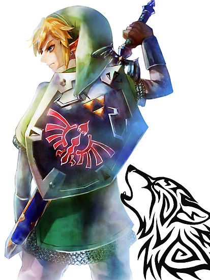 Link with Hyrule shield and master sword with Wolf by gbenaim