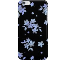 Black blue flowers iPhone Case/Skin