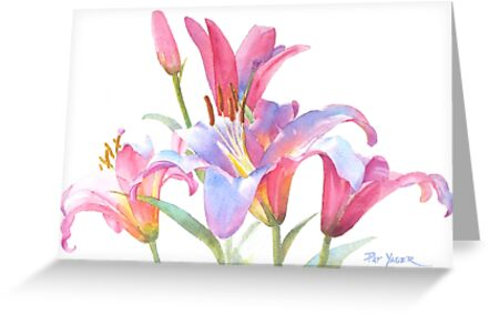 Watercolor Lilies by Pat Yager