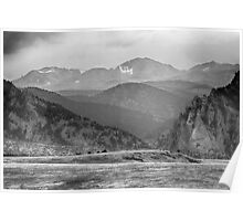 Eldorado Canyon and Continental Divide Above BW Poster
