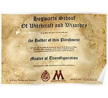 Official Hogwarts Diploma Poster - Transfiguration Poster