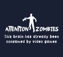 Attention Zombies. Brain Consumed by Video Games Kids Tee