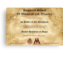Official Hogwarts Diploma Poster - History of Magic Canvas Print