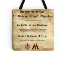Official Hogwarts Diploma Poster - History of Magic Tote Bag