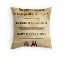 Official Hogwarts Diploma Poster - History of Magic Throw Pillow