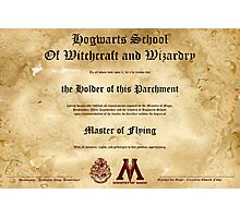 Official Hogwarts Diploma Poster - Flying Photographic Print
