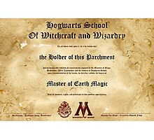 Official Hogwarts Diploma Poster - Earth Magic Photographic Print