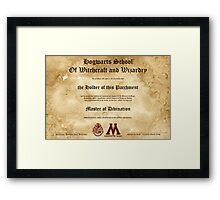 Official Hogwarts Diploma Poster - Divination Framed Print