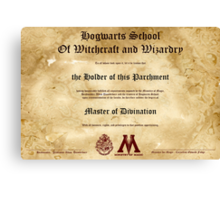 Official Hogwarts Diploma Poster - Divination Canvas Print