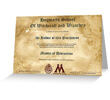 Official Hogwarts Diploma Poster - Divination Greeting Card