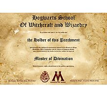 Official Hogwarts Diploma Poster - Divination Photographic Print