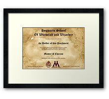 Official Hogwarts Diploma Poster - Charms Framed Print