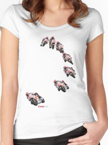 Marco Simoncelli going down the corkscrew at laguna seca 2011 Women's Fitted Scoop T-Shirt