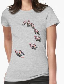 Marco Simoncelli going down the corkscrew at laguna seca 2011 Womens Fitted T-Shirt