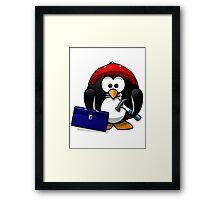 Construction Penguin Framed Print