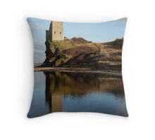 Reflecting on Greenan Castle Throw Pillow