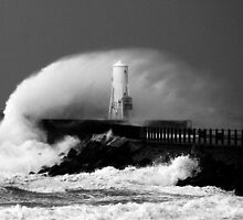 Ayr Harbour Pier Storm 2007 by AyrshireImages