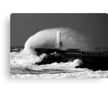 Ayr Harbour Pier Storm 2007 Canvas Print