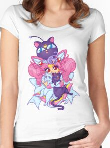Sailor Mini Moon & Space Kitties Women's Fitted Scoop T-Shirt