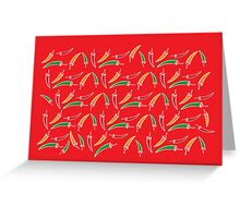 Chilli, chillies in colors with red background Greeting Card