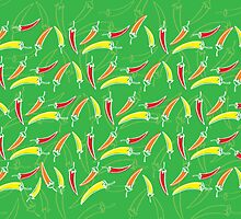 Chilli, chillies in colors with green background by yolan