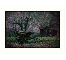 Neon Farmstead with Wagon Art Print