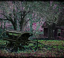 Neon Farmstead with Wagon by Kim Krause
