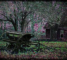 Neon Farmstead with Wagon by Kim Krause